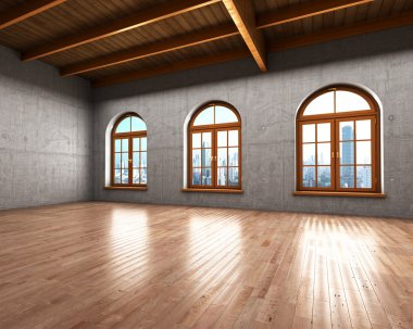 Large spacious room with concrete walls and large windows. 3d il