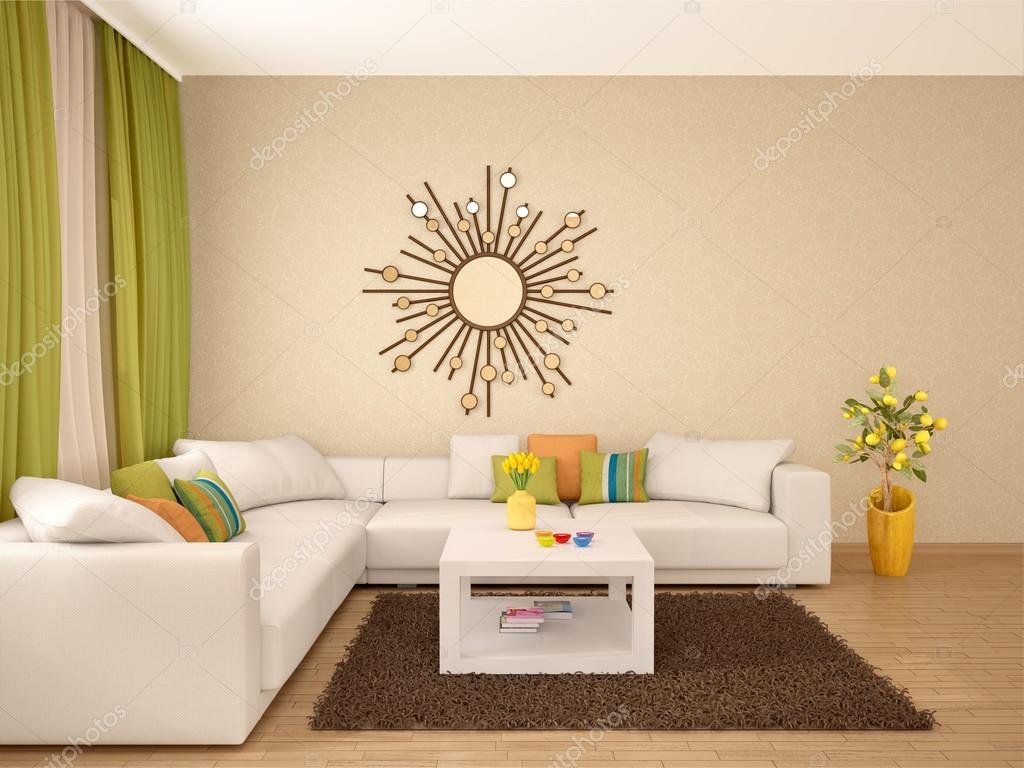 3D illustratie van interieur van moderne woonkamer warme kleuren ...