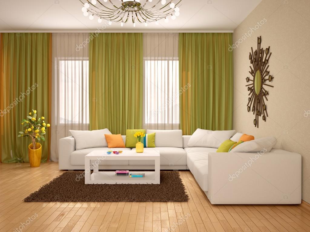 3D Abbildung des Inneren des modernen Wohnzimmer warme ...