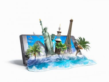 concept of travel, landmarks look out for the sea wave the phone