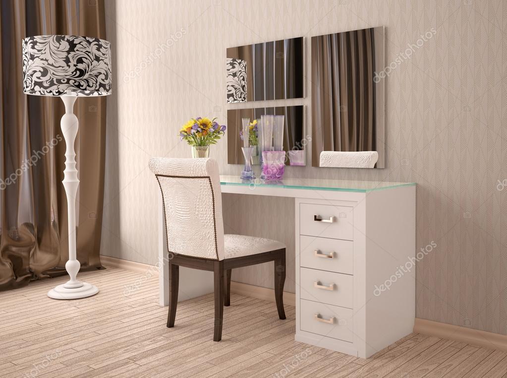 A modern feh r f s lk d asztal t k rrel 3d s illusztr ci - Toeletta moderna da camera ...