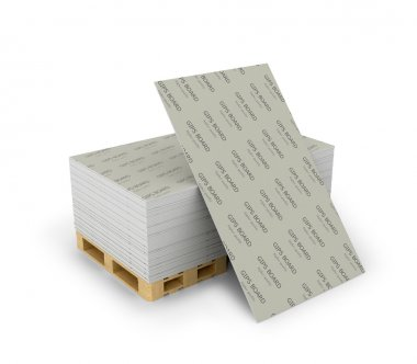 Stack drywall sheets stacked on wooden pallets, isolated white b