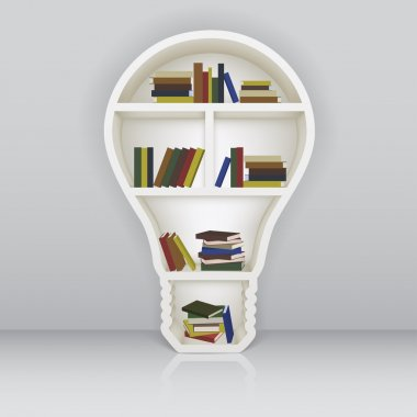 The concept of learning. Bookshelf as a light bulb