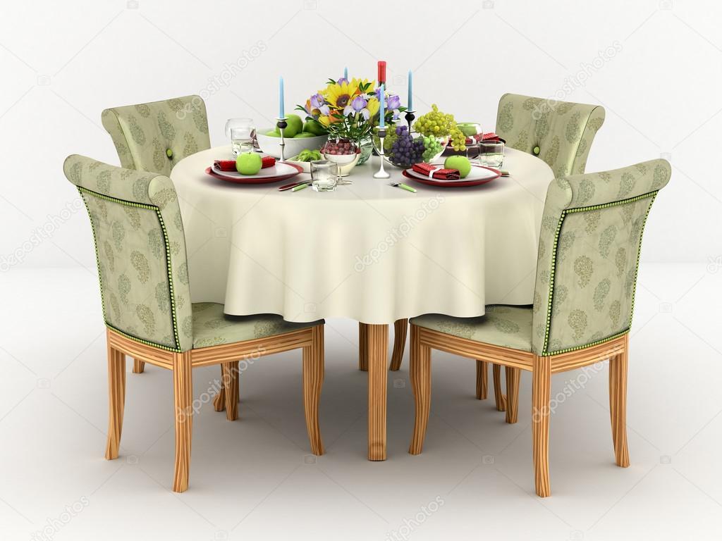 Tavolo Da Pranzo Rotondo : Illustrazione d di servire un tavolo da pranzo rotondo per