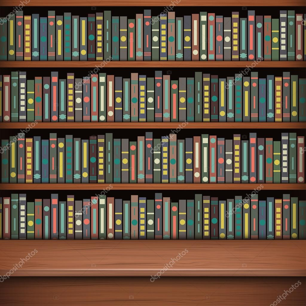 Table On Background Of Bookshelf Full Books Old Library Stock Vector