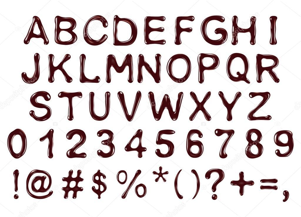 Vektor Alphabet Buchstaben Zahlen Und Symbolen Gemacht Schokolade S