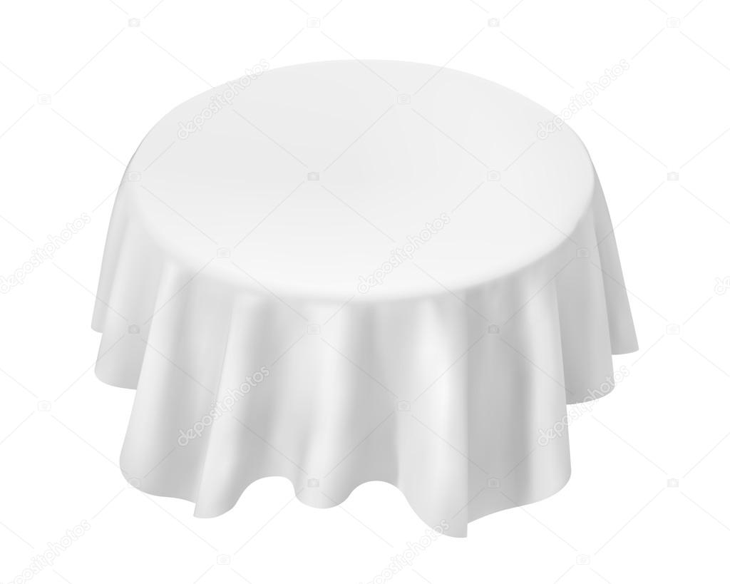Round Table With Tablecloth.Vector Empty Round Table With Tablecloth Isolated On White Backg