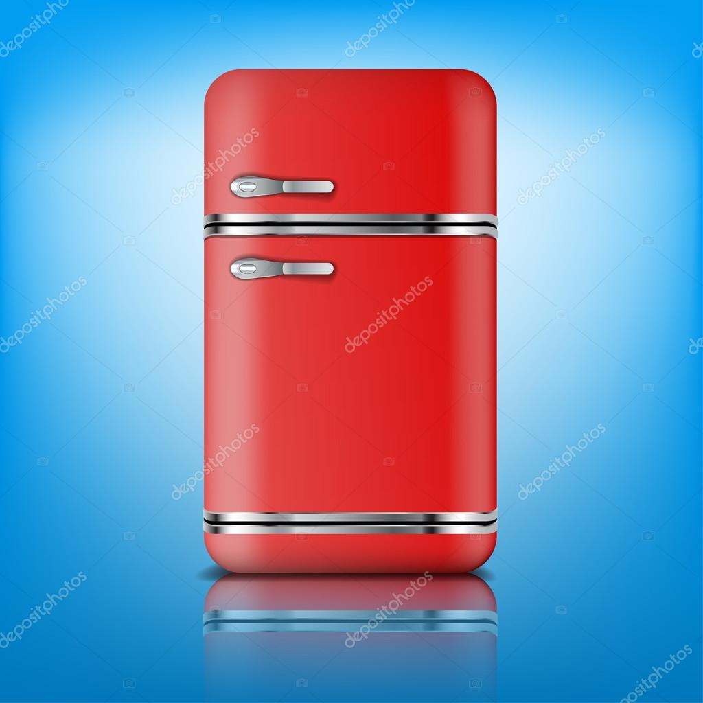 Retro Kühlschrank Kühlschrank retro rot — Stockvektor © urfingus ...