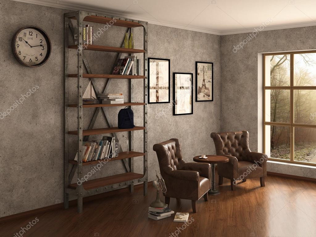 Home Bibliothek mit Sesseln. Saubere und moderne Dekoration. 3D ...