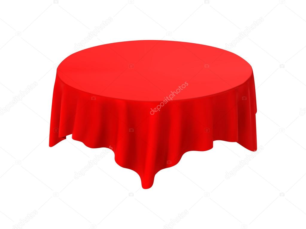 Red Round Tablecloth Table On A White Background U2014 Stock Vector