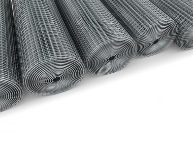 Galvanized welded wire mesh twisted into a roll on a white backg
