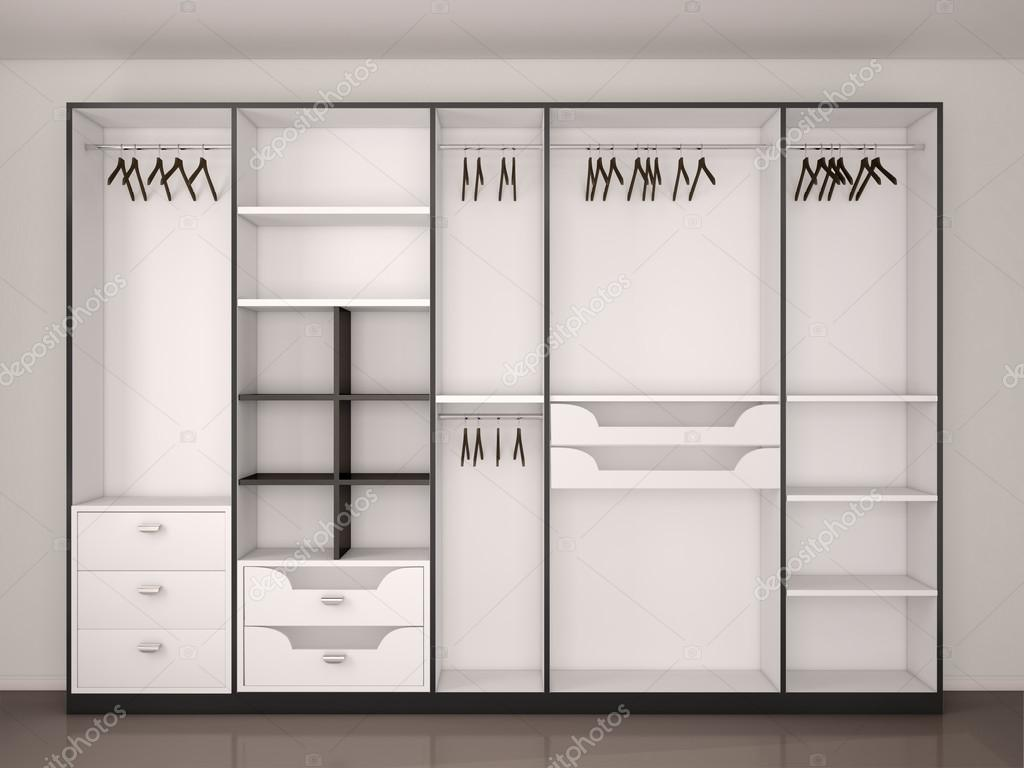 Modern Black And White Empty Walk In Closet Stock Photo