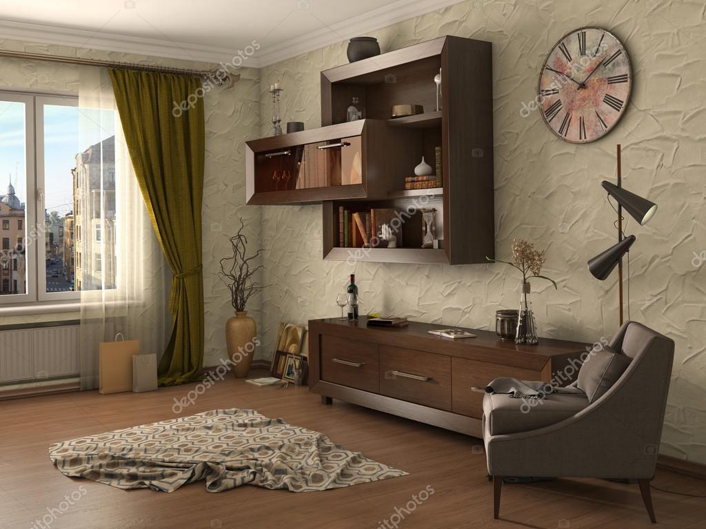 Wohnzimmer modern eingerichtet, 3d illustration — Stockfoto ...