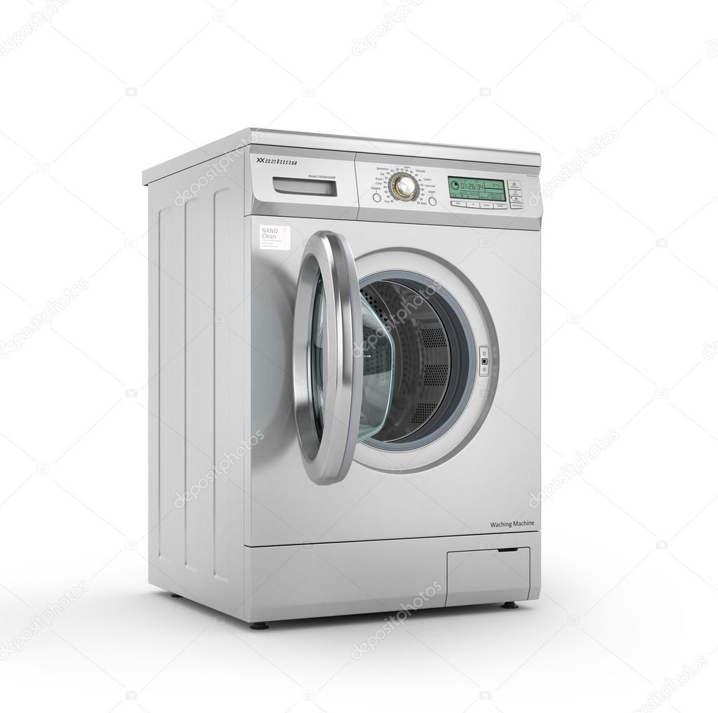 Moderne Waschmaschine eröffnet moderne waschmaschine in metallic farbe 3d illustration