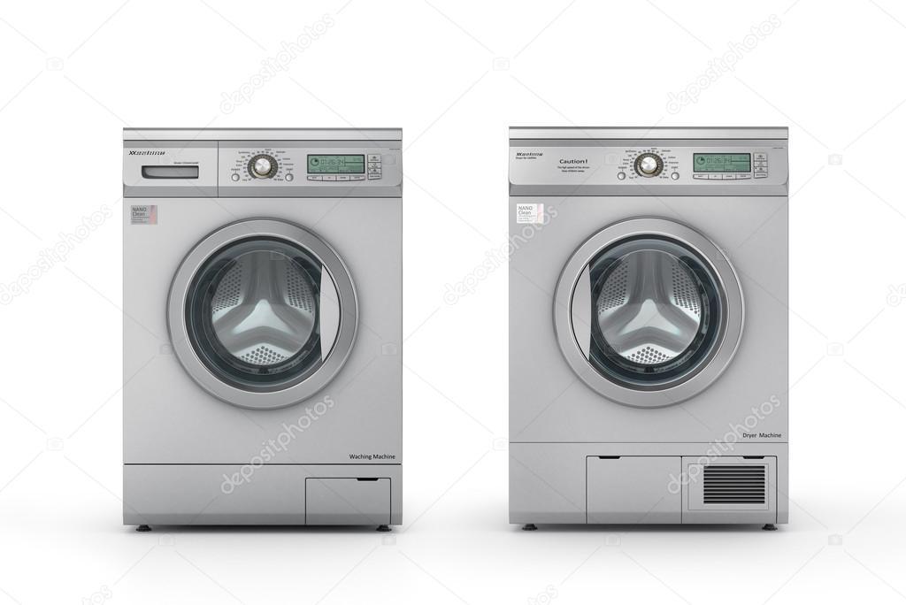 Satz von waschmaschine und trockner maschine auf einem weißen