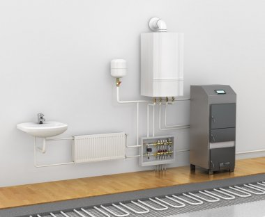 Concept of the scheme of the heating system. Spend a warm floor