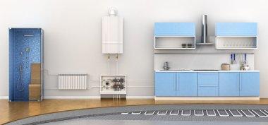 Alternative heating underfloor. Scheme of heat exchange coil. 3d