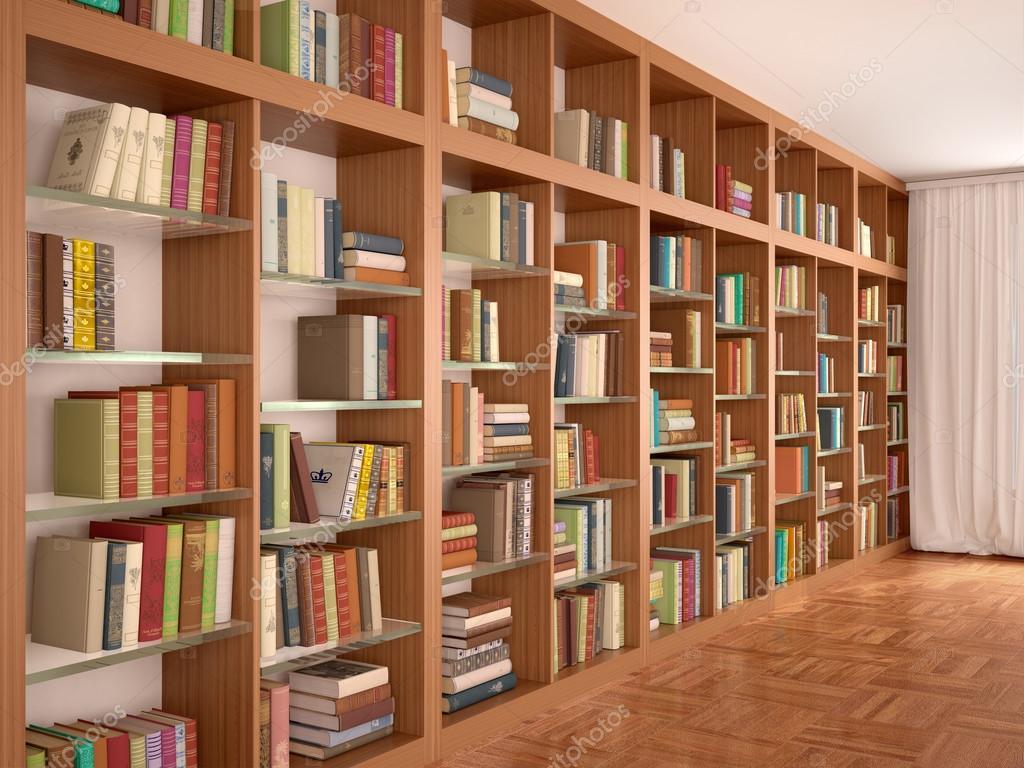 Prateleiras de madeira e vidro com livros diferentes