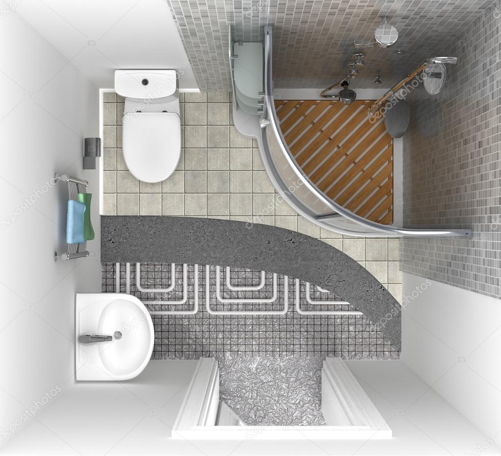 Fußbodenheizung im Badezimmer, Ansicht von oben. 3D ...