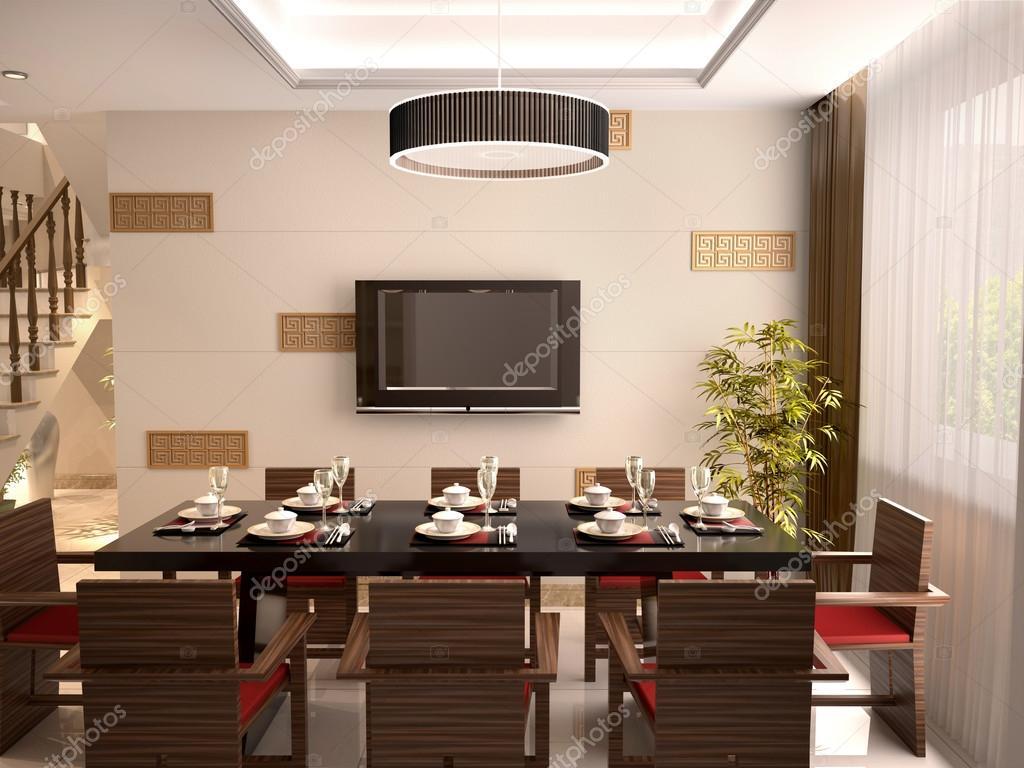 Una lussuosa sala da pranzo con tavolo e sedie per un pasto. 3D ...