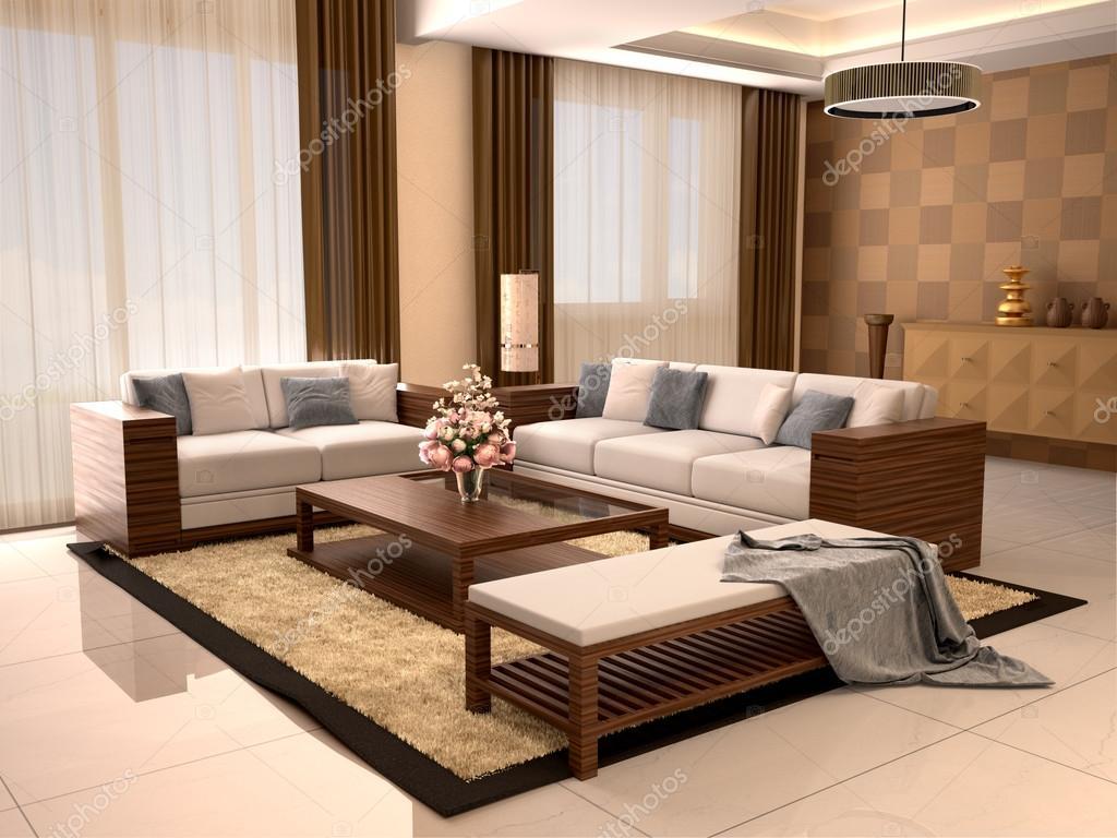 Moderne design woonkamer warme kleuren 3d illustratie Woonkamer design