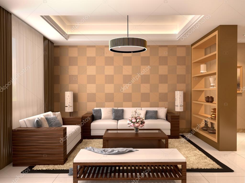 Diseño Moderno Salón Con Colores Cálidos. Ilustración 3D