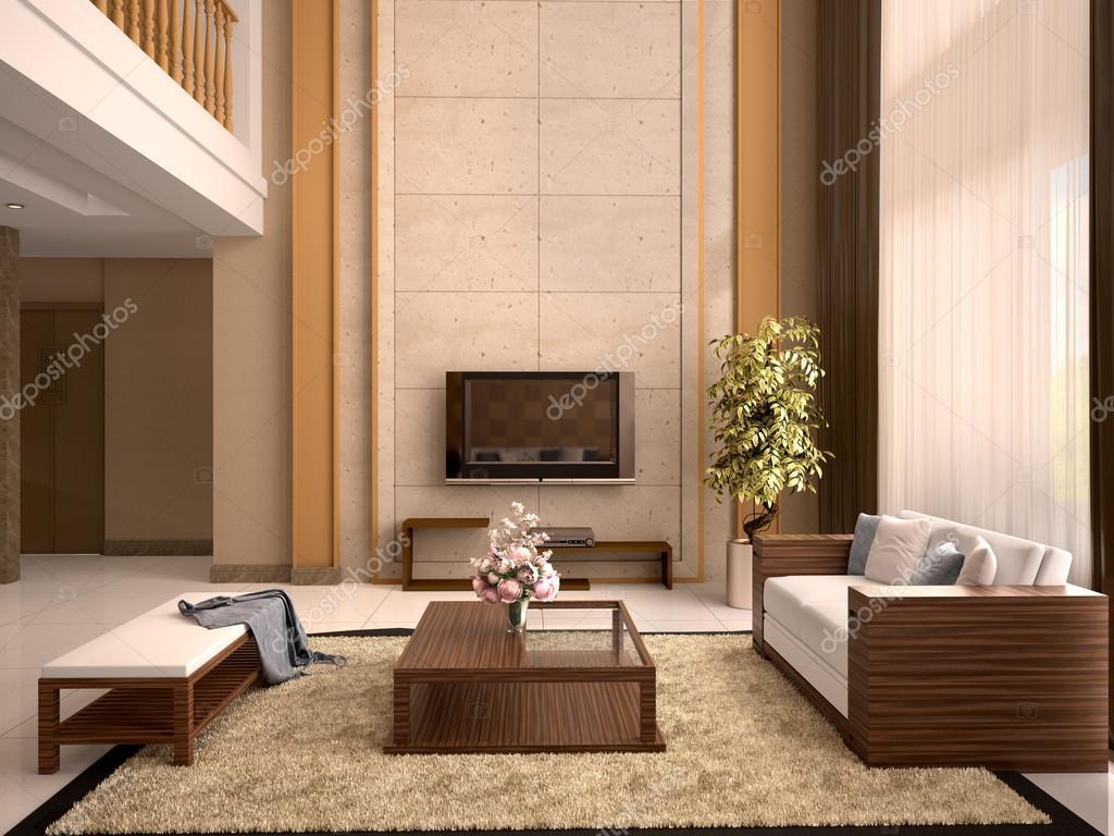 Modernes Design Wohnzimmer warme Farben. 3D illustration ...