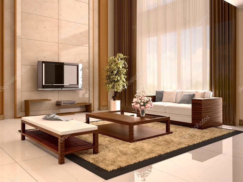 Couleurs chaudes du salon design moderne. illustration 3D ...
