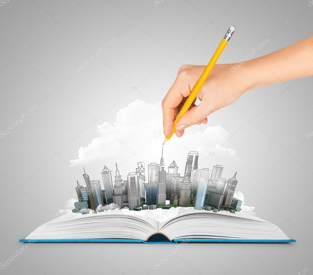 Aufgeschlagenes buch gezeichnet  zeichnen eine Stadt auf ein offenes Buch — Stockfoto #53910903