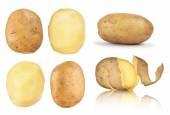 Fotografie sběr brambor oloupané v peel na izolované bílá