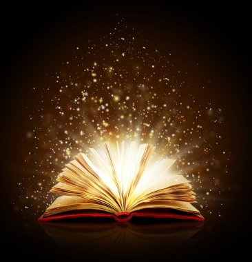 Open magic book with magic lights on a black background