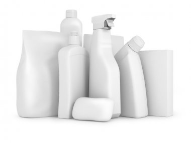 Detergent bottles and chemical cleaning supplies isolated on whi