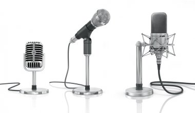 Set of professional microphones on the white background.