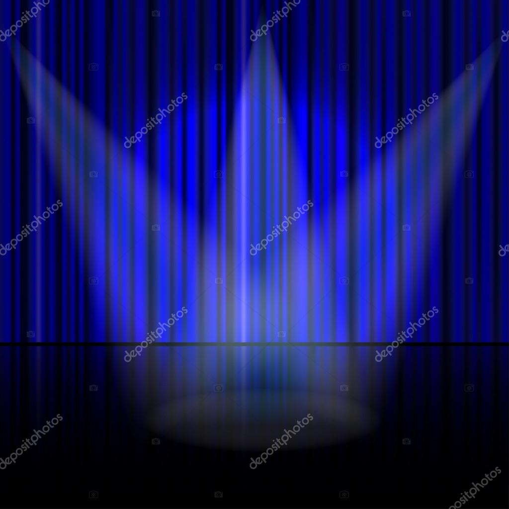Blue stage curtains blue stage curtain vector free vector in - Spotlight On Stage Curtain Vector Vector By Urfingus