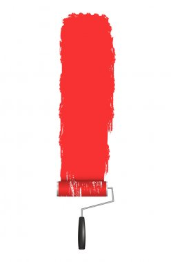 Red Roller Brush Painting on Wall. Various Paint Strokes on White Background. Vector Design Elements for Your Text.