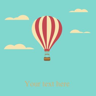 Hot air balloon in the sky vector illustration background greetin g card clip art vector