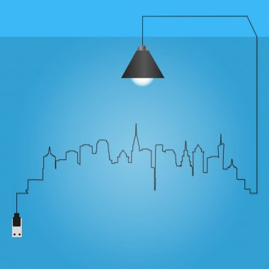 Cityscape with creative wire light bulb idea concept,
