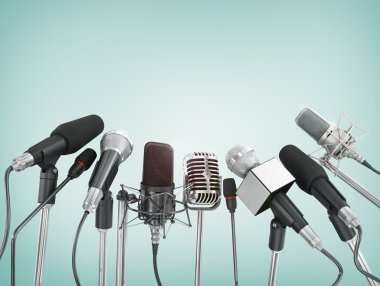 Various microphones aligned at press conference. stock vector