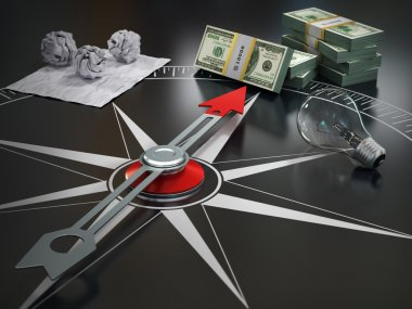 Conceptual image of compass directing at money. Course concept.