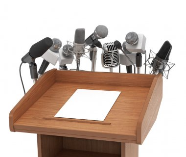 Conference meeting microphones with tribune on white background.