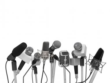 Press conference with standing microphones. stock vector