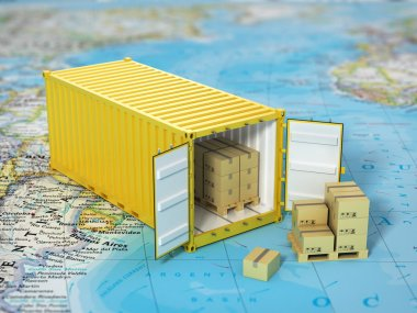 Open container with cardboard boxes on the world map. Transporta