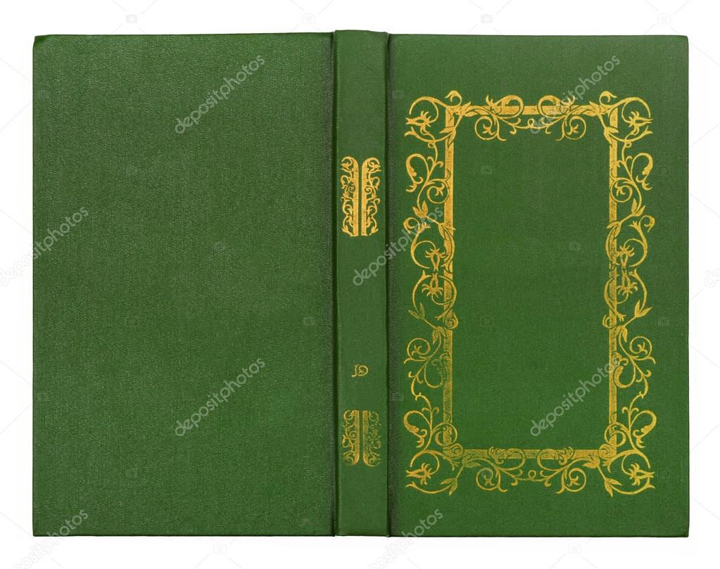 Cookbook With Green Cover : Green leather book cover with gold pattern isolated on