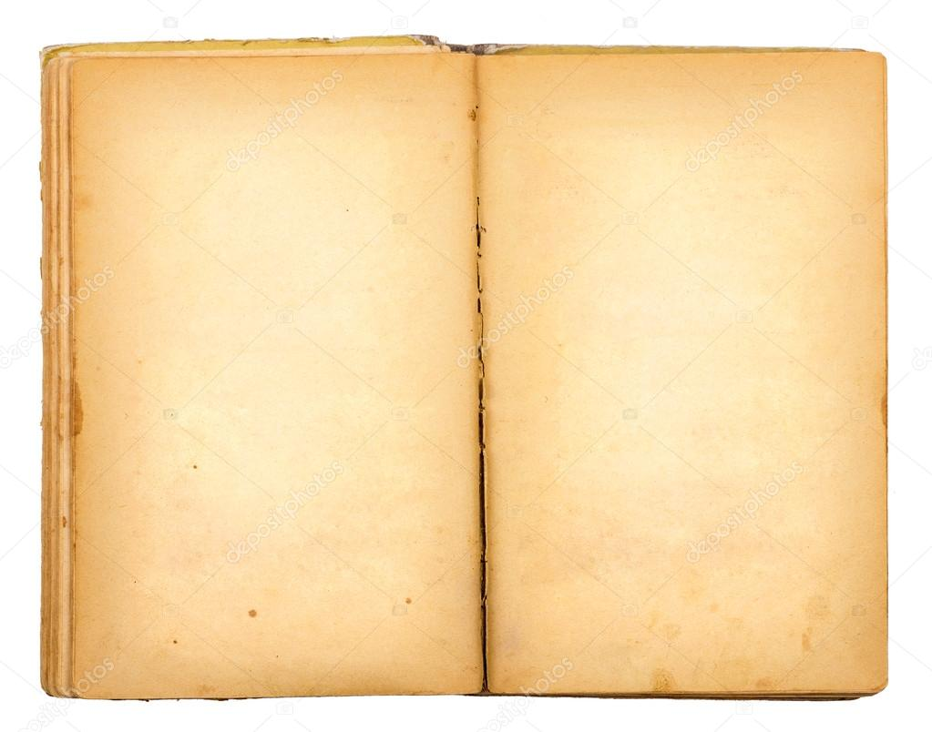 vintage old open book isolated on white background stock photo