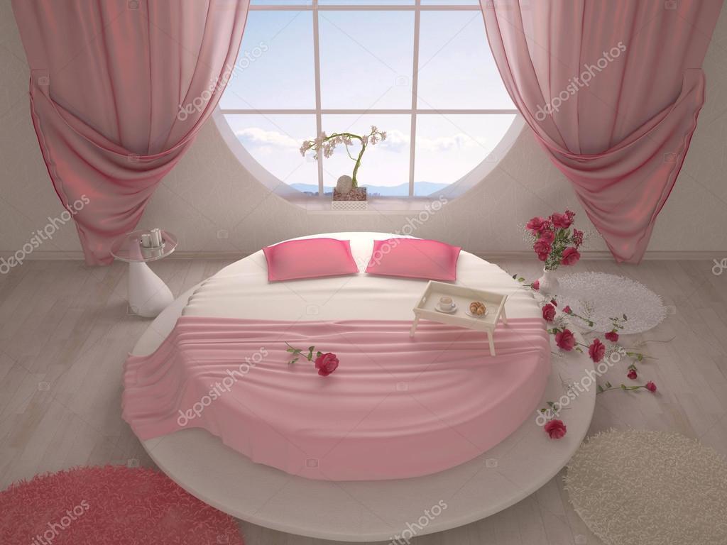 Camera da letto con un letto rotondo e una finestra — Foto Stock ...