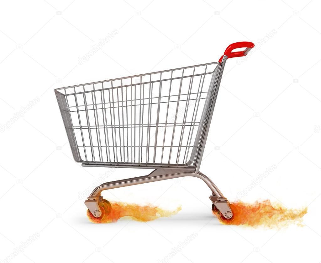 Carro de compra vacío original movimiento dejando el fuego a la Wi