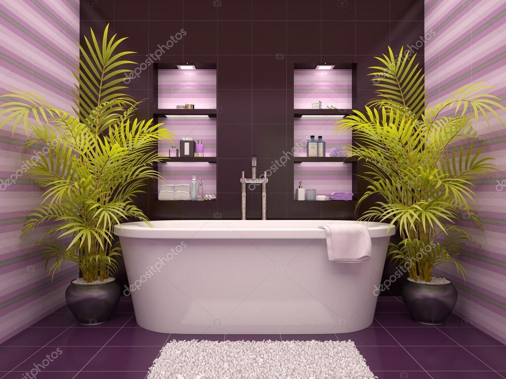 3D Abbildung des inneren Badezimmer mit Nischen in der Wand ...
