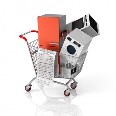 Large home appliances with a check in the shopping cart. Sales c