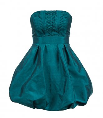 Evening gown of green silk taffeta strapless