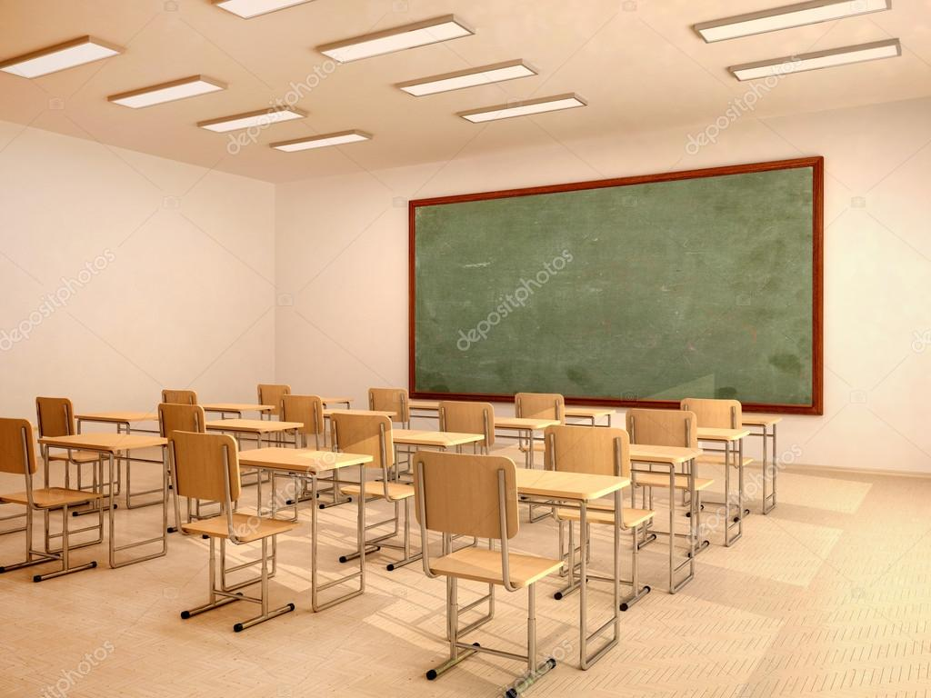 3d Illustration Of Bright Empty Classroom With Desks And Chairs Photo By Urfingus